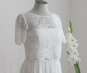 Anfertigung von Brautkleidern.Weißes Brautkleid