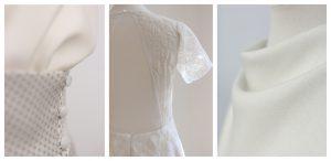 Feine Details Maßgeschneiderter Brautkleidern.
